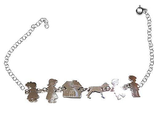 artigianale 1 Armband Big Silber 925 Familie: Mutter Papa Kind Mädchen Hund Haus, verstellbar 23 cm + 1 Schlüsselanhänger AMULETI rot
