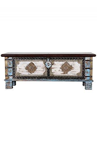Orientalische Truhe Kiste aus Holz Cemile - 116cm | Vintage Sitzbank mit Aufbewahrung für den Flur | Aufbewahrungsbox mit Deckel im Bad | Betttruhe als Kissenbox oder Deko im Schlafzimmer - 3
