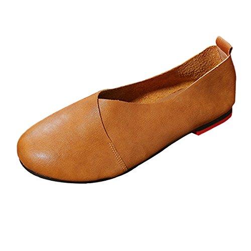 Socofy Zapatos de Los holgazanes Las Mujeres, resbalón EN el holgazán Zapatos Planos del Barco Las Mujeres Color Puro Retro Zapatos Casuales Que Caminan Zapatos de Conducción Al Aire Libre Planos