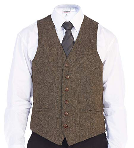 Gioberti Men's 6 Button Slim Fit Formal Herringbone Tweed Vest, Barleycorn Brown, 3X Large
