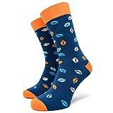 40YARDS American Football Socken mit bunten Footbällen für Fans aller Teams - Unisex für Männer, Frauen und Kinder (blau/orange, 41-46)