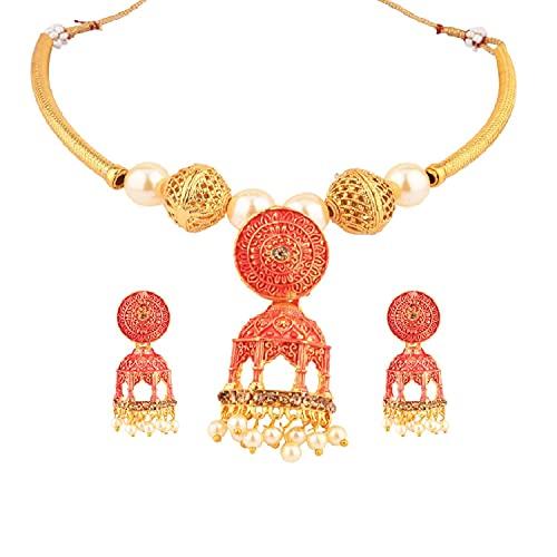 Efulgenz Joyería india antigua Kundan Crystal Jhumka Jhumki Colgante Gargantilla Collar Pendientes Bollywood Joyería de boda Set para mujer, Metal, desconocido,
