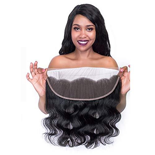Cheveux humains réels , vague de corps fermeture de dentelle frontale de cheveux humains longs cheveux raides Mesdames Sexy longue perruque élégante 13 * 4 (Size : Free part 18 inch)