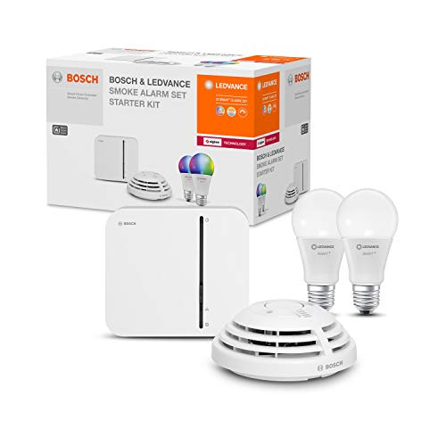 LEDVANCE & BOSCH Smart Home Smoke Alarm Set (Starter-Kit), Smoke Warning...