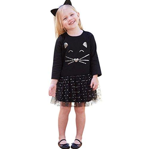 Mädchen Kleider Schöne Kleider für Kinder Longra Kindermode kinderkleidung Mädchen Katze Pailletten Tutu Prinzessin Dot Kleid Festliche Kinderkleider (Black, 120CM 6Jahre)