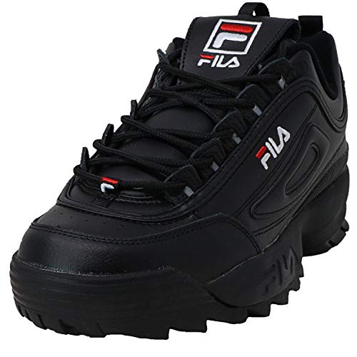 Fila Mens Disruptor II Premium Running Shoes (8.5), Black/White-black