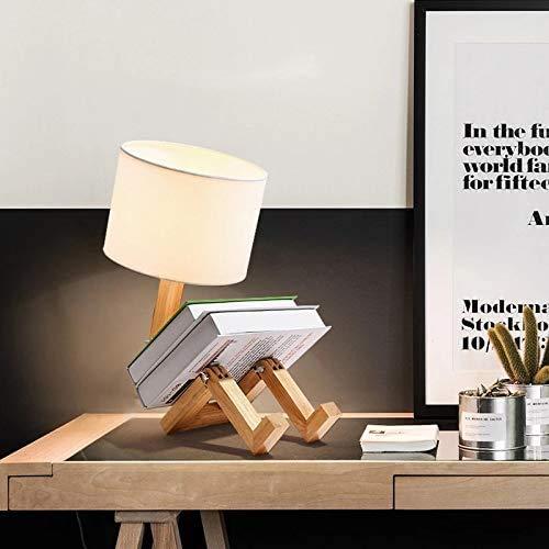 Lampada da tavolo robot, lampada da scrivania a LED in legno E27, paralume in tessuto ad angolo regolabile per negozio di uffici in camera da letto