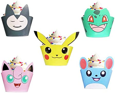 25 Pikachu Pokemon Cupcake Liners Cake Wrappers for Kids Birthday Party Cupcake Decorations product image