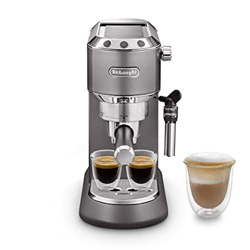 De'Longhi Dedica Style EC785.GY, traditionelle Barista-Maschine mit Pumpe, Kaffeemaschine und Cappuccino, Grau