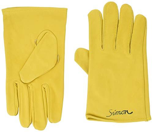 [シモン] 牛本革手袋 袖無し シモンロゴ入り CG-714/714Y 黄色 フリーサイズ(L)