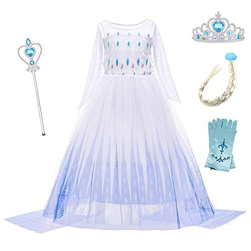 YOSICIL Eiskönigin 2 Prinzessin ELSA Kostüm Ice Queen ELSA Kleid Weißes Prinzessinn Kostüm Schneekönigin Kostüme Cosplay Fasching Geburtstag Kleider Lange Ärmel mit Zubehör