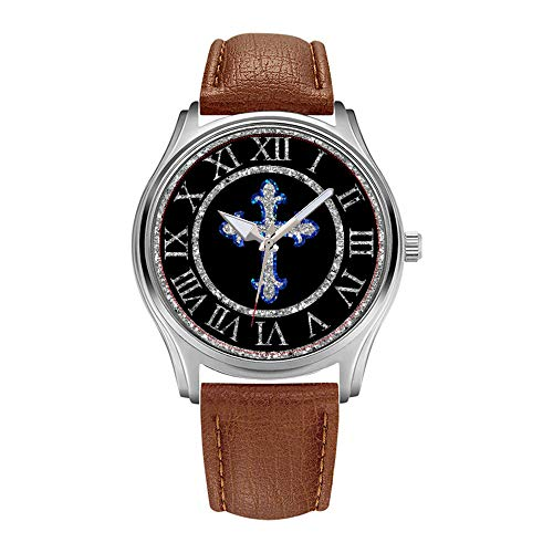 Mens Watches Top Brand Luxury Men's Brown Leather Wrist Watches Fashion Business Designer Christmas Gifts for Men Watch Celtic Cross Silver and Blue Wristwatch