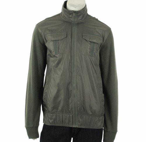 Sean John Mens Full Zip Knit Back Field Jacket, Grey, Medium