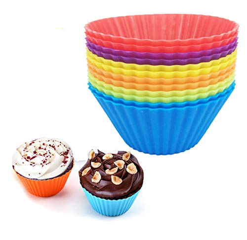 Reusable Silicone Cupcake Baking Cups 12 Pack, 2.75 inch Silicone Baking Cups, Reusable & Non-stick Muffin Cupcake Liners for Party Halloween Christmas,6 Rainbow Colors (Pack of 12,Multicolor)