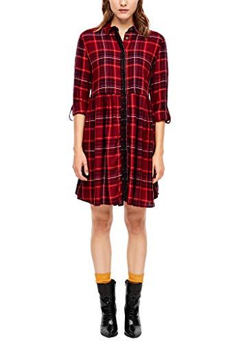 s.Oliver Damen 14.910.82.5258 Kleid, Rot (Bordeaux Glencheck 49r9), (Herstellergröße: 36)