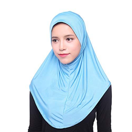 Amoyl Damen Kopftuch Elegante Moslem Hut Innen Hijab Kopftuch Mütze Islamischen Full Cover Hut (Blau)