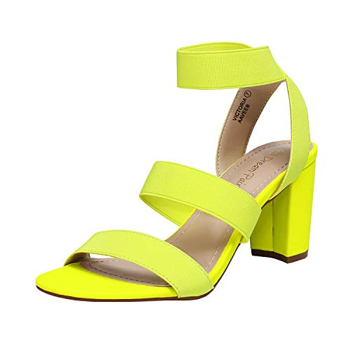 DREAM PAIRS Women's Neon Lime Open Toe High Chunky Elastic Strap Dress Heel Sandals Size 8.5 US Victoria
