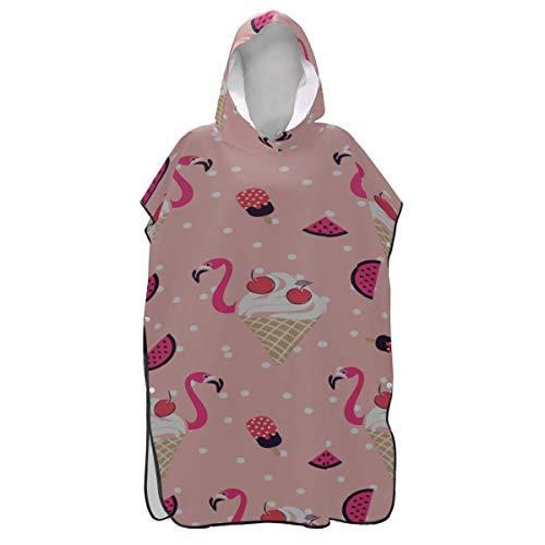 Rtosd Pink Flamingo Ice Cream Sommer Poncho Handtuch für Mädchen Damen Handtuch Robe mit Kapuze Handtuch Robe für Männer Kapuze zum Surfen Schwimmen Baden One Size Fit All
