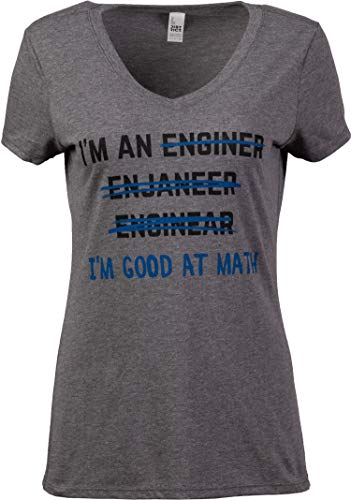 I'm an Enginer. Good at Math   Funny Engineer Engineering Civil Mechanical Electrical V-Neck T-Shirt for Women-(Vneck,M)