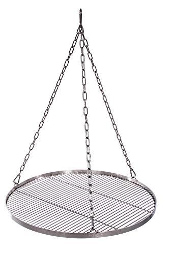 Grillrost 55 cm mit Kette Edelstahl für Schwenkgrill 3 Bein Grill Rost 10 mm Stababstand BBQ