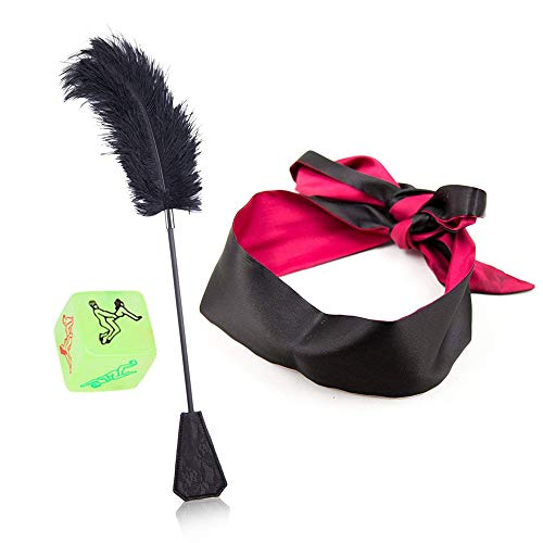 liumanli 2-in-1 Fine Feather Tickle and Leather Paddle Whip with Silk Eye Goggles, Send Toy Dice