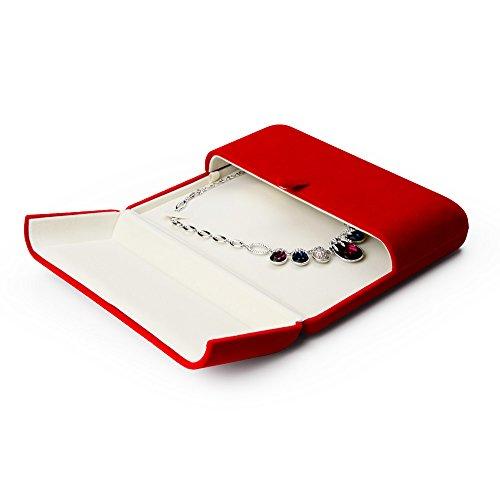 Preisvergleich Produktbild Oirlv rote Samtschatulle für Ringe,  Schmuck,  Geschenkschatulle Big Necklace Box