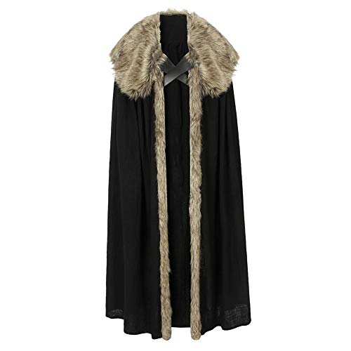 coskey Jon Snow Costume Cloak Game of Thrones S8 Mens Costume Halloween Jon Snow Cosplay Outfit