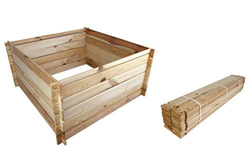 BLIZNIAKI Holzkomposter ECO Komposter 95 X 95 X 46cm Natur Kompostbehälter Gartenkomposter Einfach zusammenzubauen Kompostsilo bausatz KOM1 N