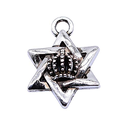 WANM 8 Piezas Encantos Estrella De La Corona 15X20Mm Colgante De Color Plata Antigua Estrella De David Encantos De Corona para Hacer Joyas