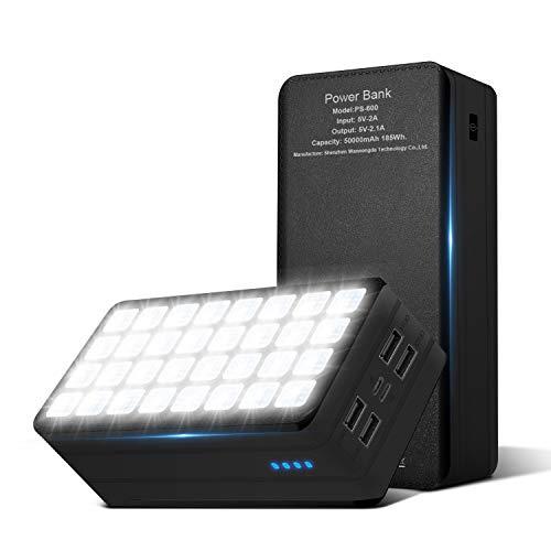 PSOOO Power Bank 50000mAh Camping Waterproof External Backup Charge with 4 Outputs & Dual Inputs 32 LED Light Flashlight Backup Battery Huge Capacity Phone Charger(Black)