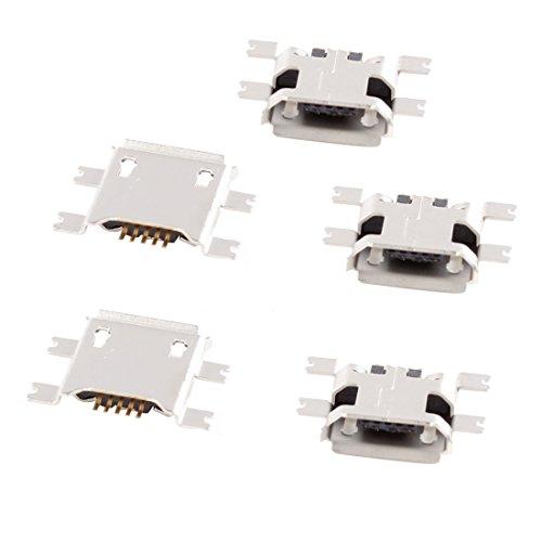 sourcing map 5 St Montagezubehör Mikro USB Typ B Buchse 180 Grad 5-Pin SMD SMT Buchse Anschluss