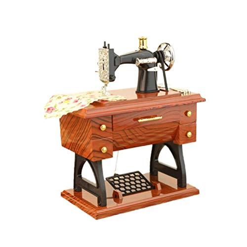 Vosarea Máquina de Coser de Vintage Caja de Musical Mini Caja de de Música Retro Treadle Decoración de Sartorius (Canción Aleatoria)