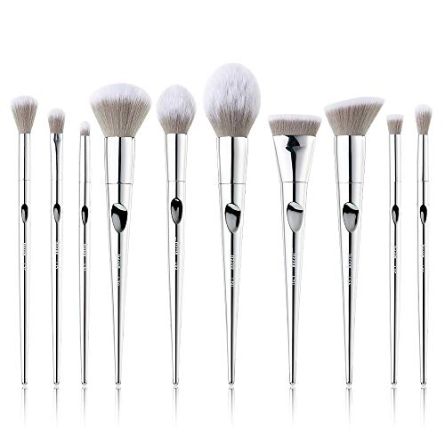Jessup Makeup Pinselsets 10 Pcs Kosmetik Schmink Bürsten Lidschatten Puder Blender Rouge Silber ABS T261