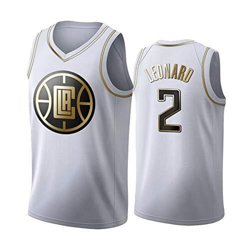 GGLL Kawhi Leonard Platinum Edition - Camiseta de baloncesto bordada para hombre, diseño de Los Angeles Clippers edición latina, poliéster, sin mangas, color blanco, XL