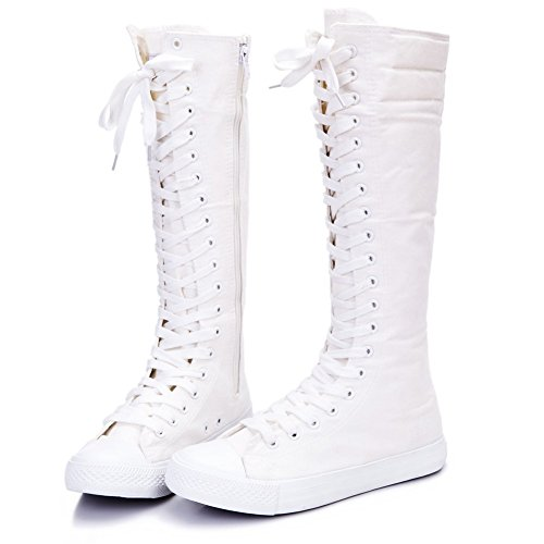 NEWCOSPLAY Women's Canvas Sneakers Lace Up Knee-high Side Zipper Shoes Lace up Boots (US9, White 801)
