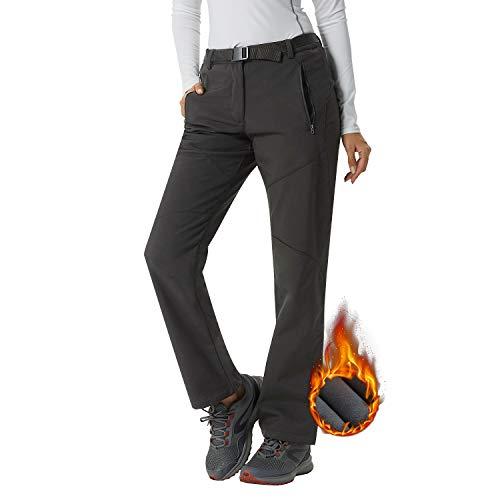 Pantalon Softshell Femme Sport Imperméable Élastique Hiver Ultra Chaud Pantalon de Randonnée Ski Escalade Camping Molleton Polaire - Gris - L