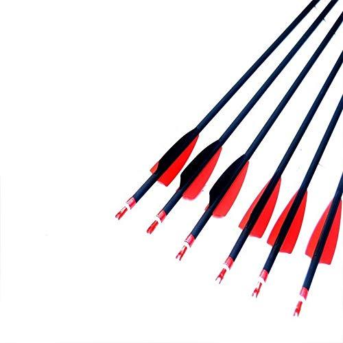 """NO LOGO XBF-Bögen, 28""""/ 30"""" / 31"""" Spine 500, rote und Schwarze Feder-Target Practice Archery Mix Carbonpfeile for die Jagd Verbindung & RecurveBow (Farbe : 12pcs 31inch)"""