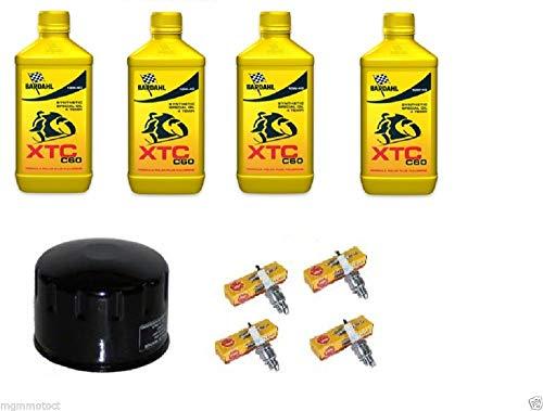 MG Kit - Juego de cambio de aceite motor: 4 litros de aceite Bardahl XTC 10W40, filtro de aceite y 4 bujías CR9EK para Kawasaki Z 1000