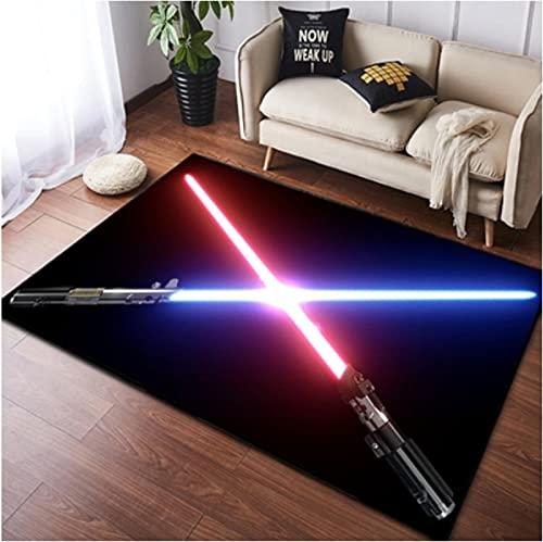 chengcheng Alfombra de Star Wars, alfombras de cabecera de Caballero Jedi, Alfombra de Piso de habitación de niños de Guerrero Negro 140x200cm
