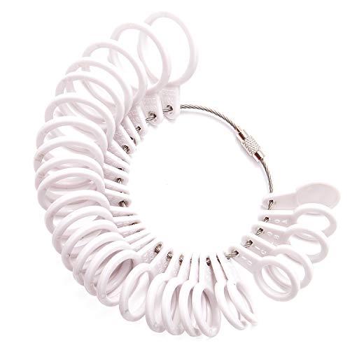 Meowoo Ringstock Ringgrössenmesser Metall Oder Kunststoff Ringmaß Ringmesser, Größenstandard UK, EU, USA und Schweiz(Kunststoffring)