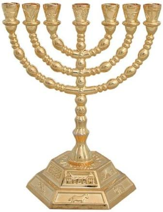 Menorah de base hexagonal de 7 brazos, con 12 tribus de Israel, dorado