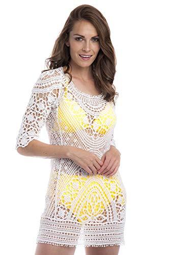 SOL Y PLAYA - Conjunto Bikini triangulo Halter Push up diseño Sexy Moderno para Mujer Chica (Talla única, Blanco)