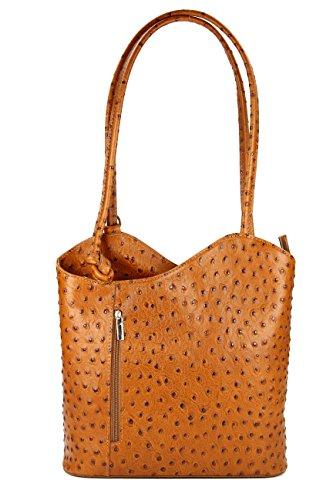 Belli ital. Ledertasche Backpack 2in1 Rucksack Handtasche Schultertasche - Freie Farbwahl - 28x28x8 cm (B x H x T) (Cognac strauss)