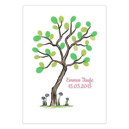 Papierdrachen Fingerabdruck Gästebuch für Deine Hochzeit, Taufe oder Kommunion - DIN A4 Baum klein und bunt - personalisiert mit Namen und Datum - inklusive Stempelkissen