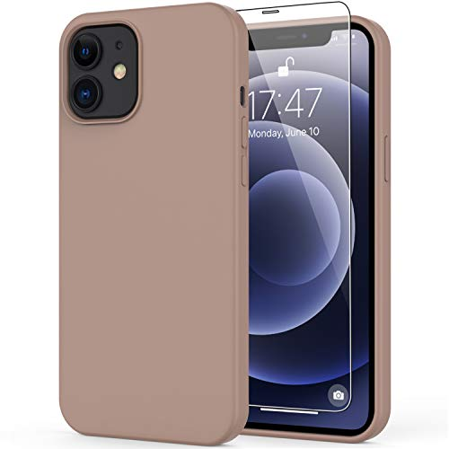 """DEENAKIN iPhone 12 Case,iPhone 12 Pro Case with Screen Protector,Soft Liquid Silicone Gel Rubber Bumper Cover,Slim Fit Shockproof Protective Phone Case for iPhone 12 Pro 6.1"""" Elegant Brown"""
