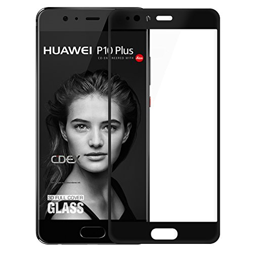 doupi FullCover Panzerfolie für Huawei P10 Plus, Preimium 9H Hartglas HD Bildschirmschutz Anti Kratzer Glas Schutzfolie, schwarz