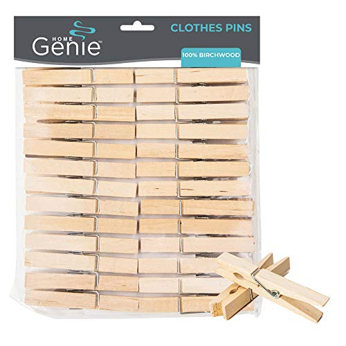 HOME GENIE Premium Clothes Pins 50 Pack Durable Wood Clothing Pegs Strong Grip Rust and Moisture Resistant Use Pin to Dry Laundry on Clothesline and Drying Racks Bag Clips Crafts and Photos