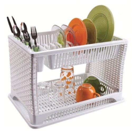 New Raddan Modern Two 2 Layer Plastic Dish Drainer Rack Utensil Cutlery Off White