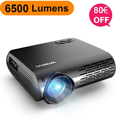 Proyector, WiMiUS 6500 Lúmenes Proyector Full HD 1920x1080P Nativo Soporta 4K Proyector Video Sonido Dolby Ajuste Digital 4D 90,000 Horas Proyector LED para Cine en Casa y Presentación Empresarial
