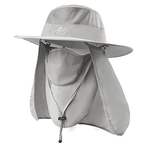 Fishing Hat,Sun Cap with UPF 50+ Sun Protection and Neck Flap,for Man and Women Light Grey